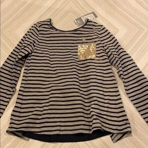 3Pommes Girls Black & Grey Striped Glitter L/S Top